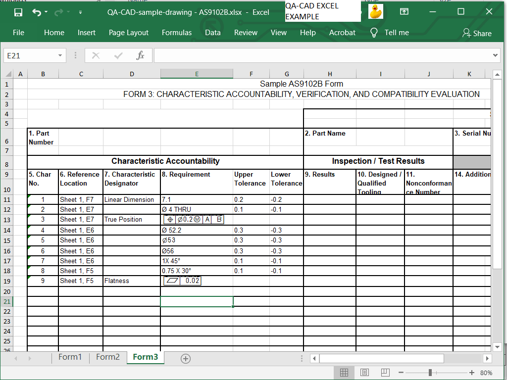 AS9102 Rev B free download forms EXCEL