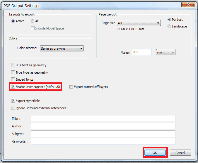 Change AutoCAD to PDF output settings