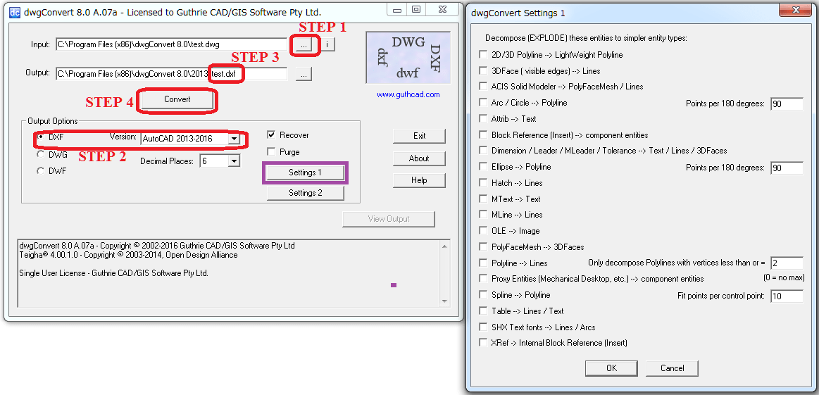 Convert DXF to DWG / DWG to DXF for 2019 | dwgConvert9 - guthrie CAD