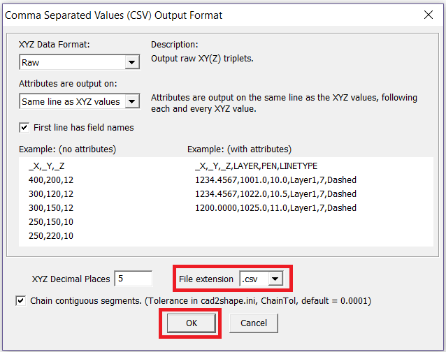 Select CSV as output option
