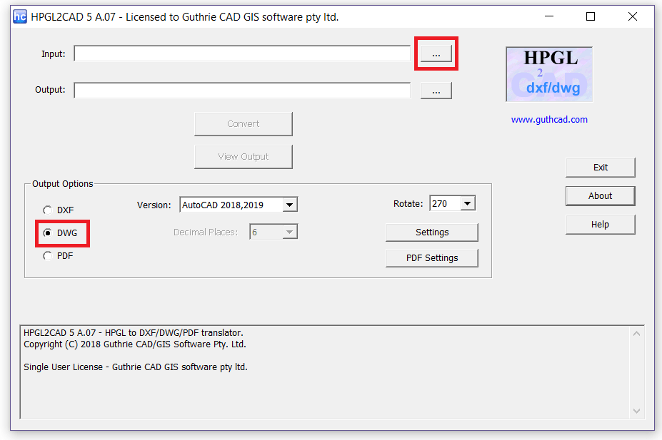 PLT to DWG Converter -file selection