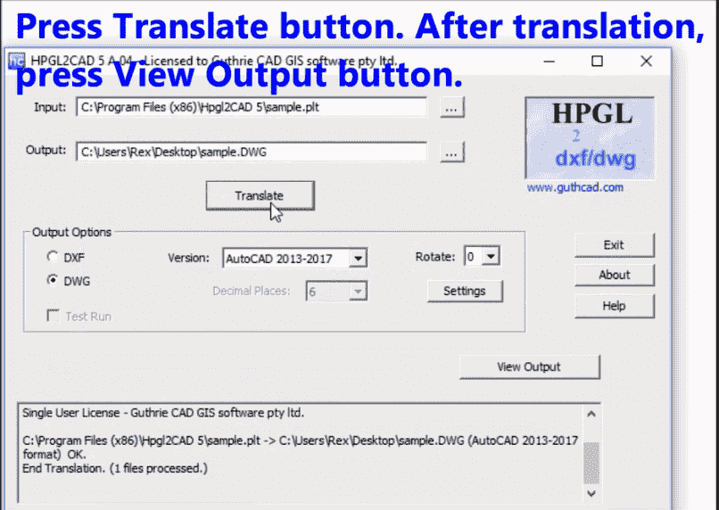 HPGL/PLT to DWG/DXF (batch) converter for 2019: HPGL2CAD