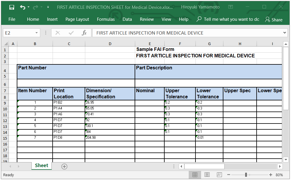 ISO 13845 first article inspection sample for medical device
