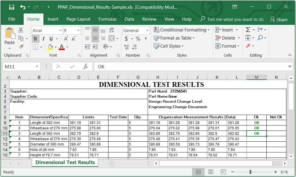 PPAP documents EXCEL/ PDF Format Download Example Template