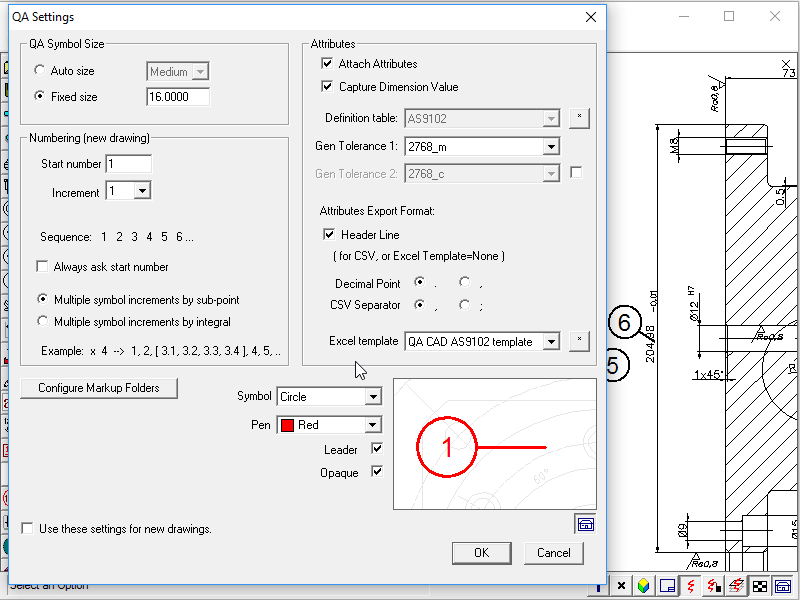 QA-CAD can export bills of characteristics to customised EXCEL