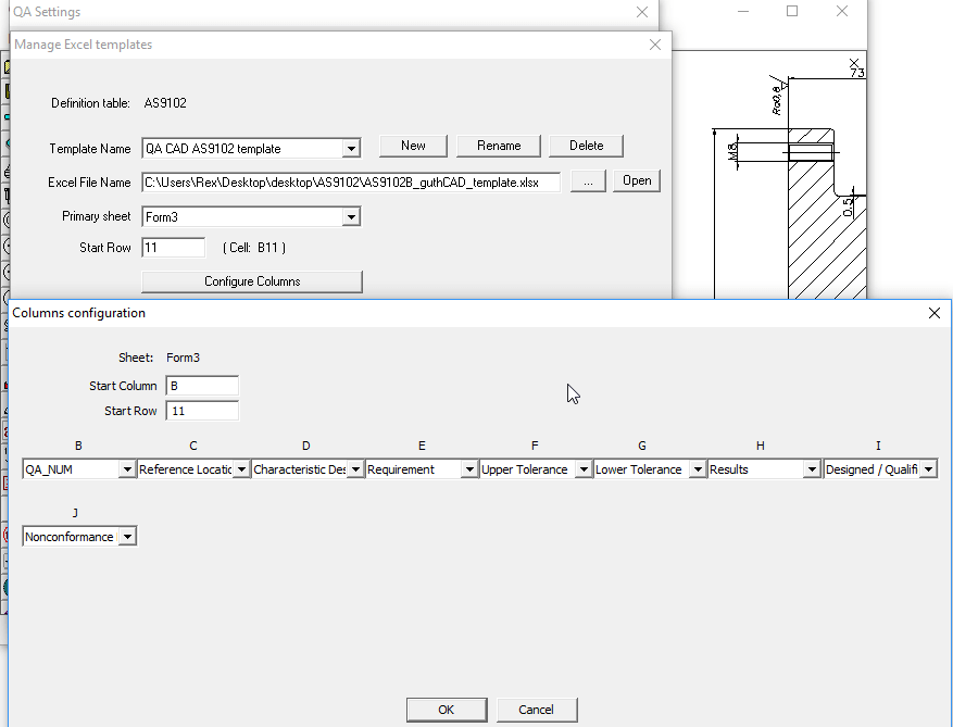 QA-CAD can export bills of characteristics to customised EXCEL2