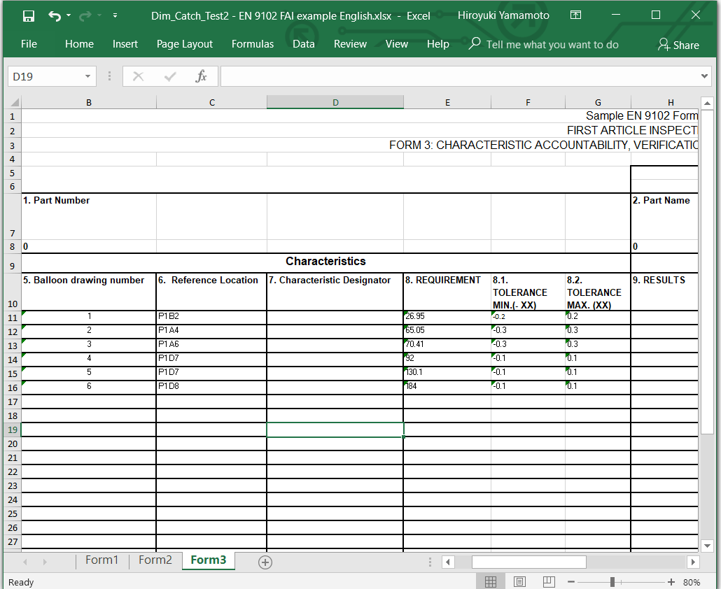 Export embedded data to the sample EN 9102 EXCEL form